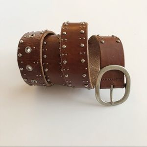 Fossil Brown Leather Studded Belt